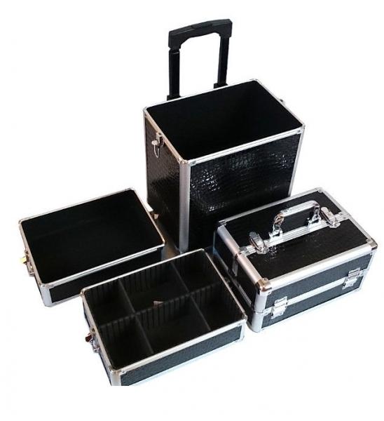 Kufer Kosmetyczny Na Rolkach TC004 Black Croco #4