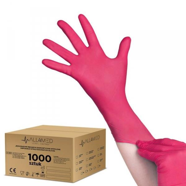 All4med jednorazowe rękawice diagnostyczne nitrylowe malinowe m 10 x 100szt #1