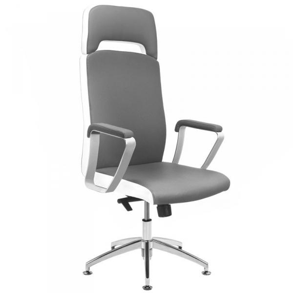 Fotel kosmetyczny rico a1501-1 do pedicure i makijażu szaro-biały #1