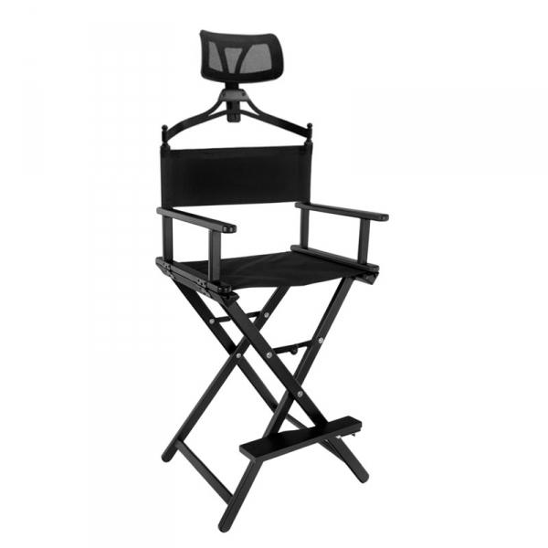 Krzesło do makijazu look aluminiowe z zagłówkiem czarne #1