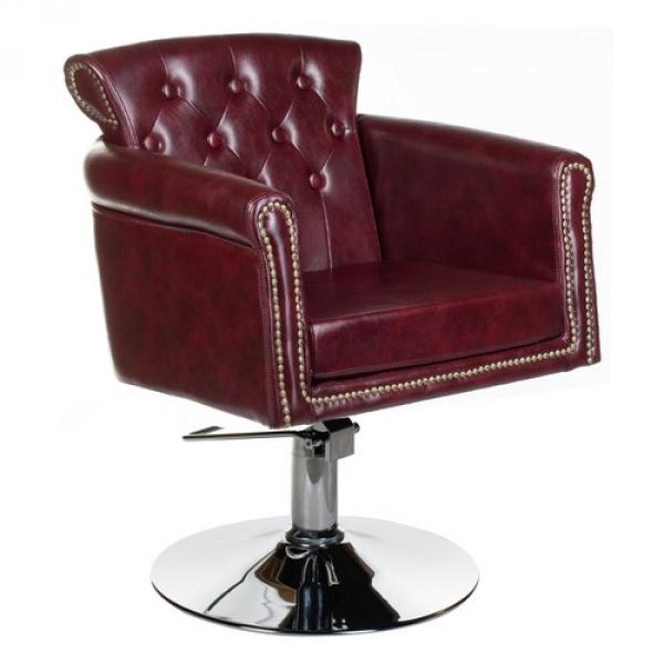 Fotel fryzjerski ALBERTO BH-8038 wiśniowy #1