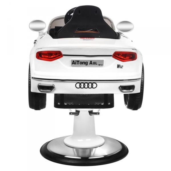 Fotel Fryzjerski Dziecięcy Samochodzik Audi B083 Biały #1