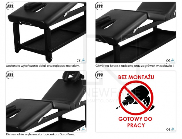 Stół Do Masażu Stacjonarny Spa Manual Black #3