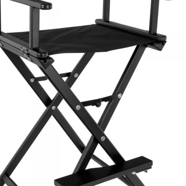 Krzesło Do Makijażu Glamour Aluminiowe Czarne 8600 #2