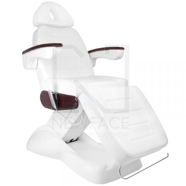 Fotel Kosmetyczny Elektryczny Lux Biały / Mahoń #1
