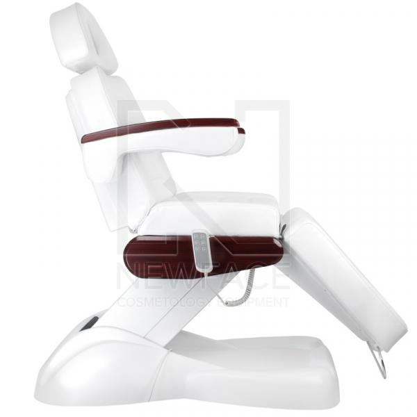 Fotel Kosmetyczny Elektryczny Lux Biały / Mahoń #4