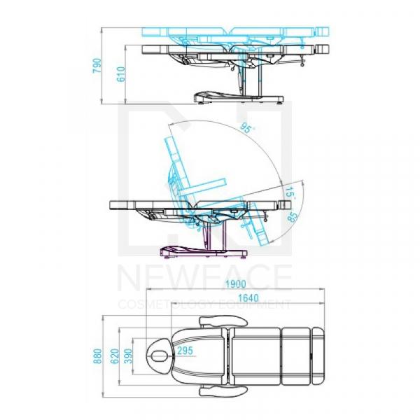 Fotel Kosmetyczny Elektr. Azzurro 803A 2 Siln. Biały #2